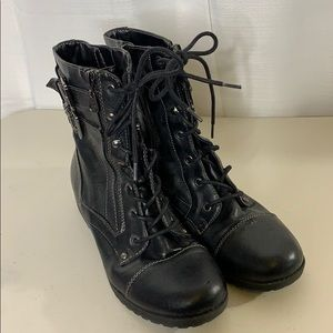G by Guess Combat Boot Black Vegan Faux Leather